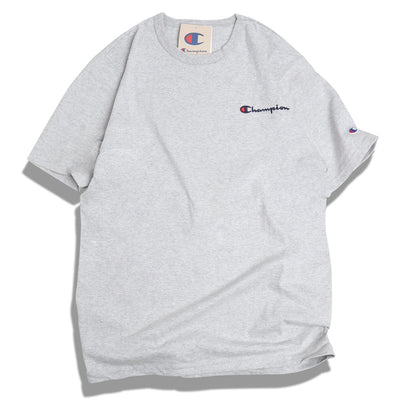 Champion Embroidered Script Logo Tee | Oxford Grey - CROSSOVER