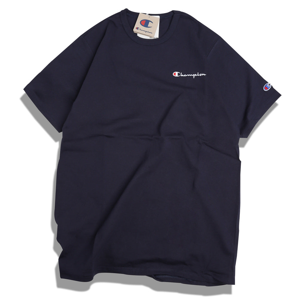 Champion Embroidered Script Logo Tee | Navy - CROSSOVER