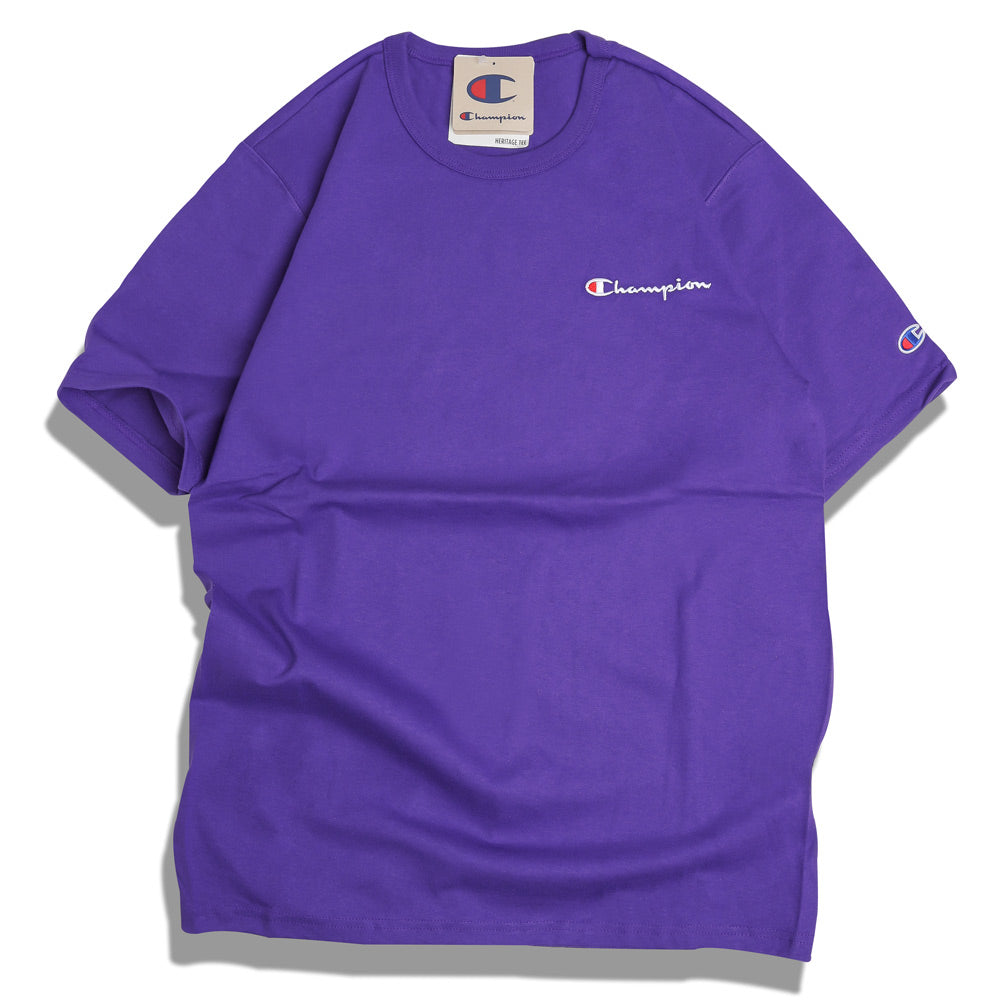 Champion Embroidered Script Logo Tee | Purple - CROSSOVER