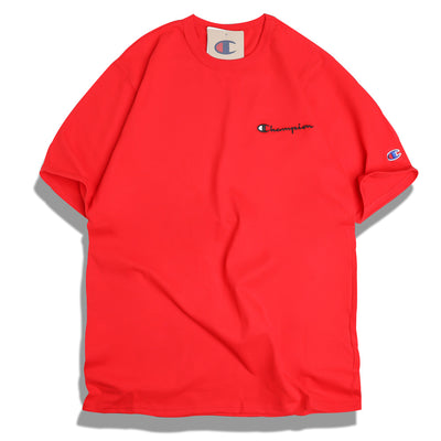 Champion Embroidered Script Logo Tee | Scarlet - CROSSOVER