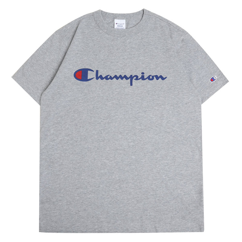 Champion Japan Script Logo Tee | Oxford Gray - CROSSOVER