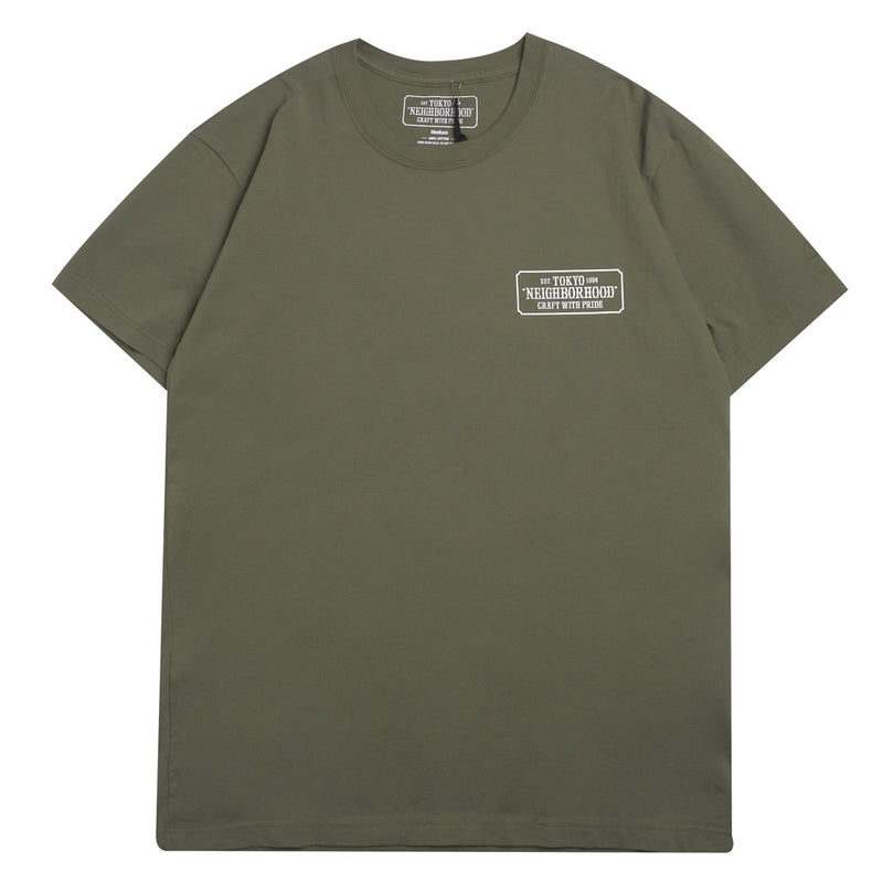 Neighborhood Bar & Shield Tee | Olive - CROSSOVER ONLINE