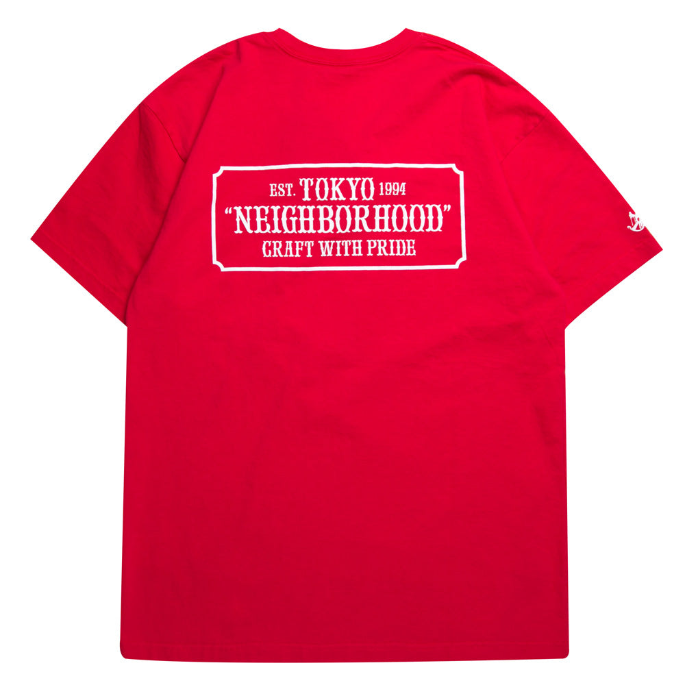 Neighborhood Skull & Bone C-Tee | Red - CROSSOVER ONLINE