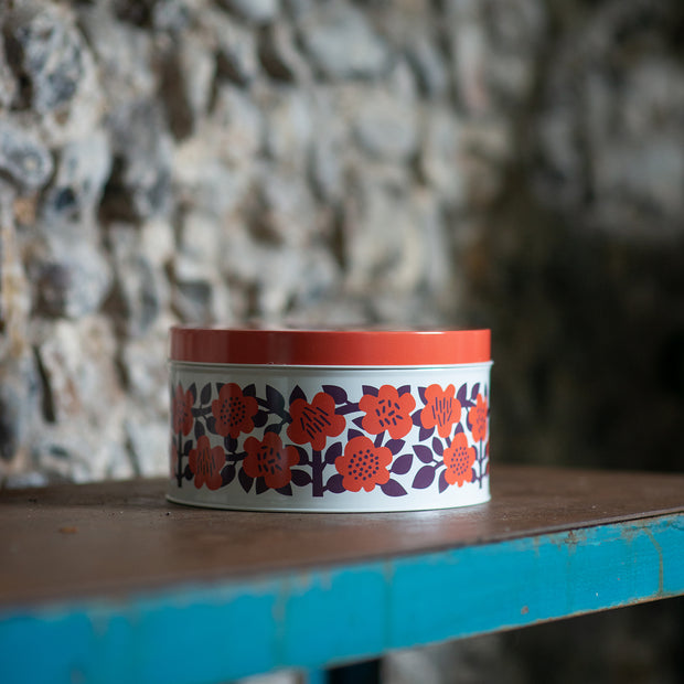 Red Flower Biscuit Tin