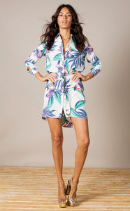 MINI SHIRT DRESS IN WHITE TROPICAL