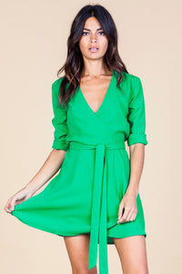 ZEINA MINI WRAP DRESS IN SUMMER GREEN