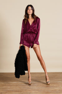 TIAGO LUX PLAYSUIT IN OXBLOOD