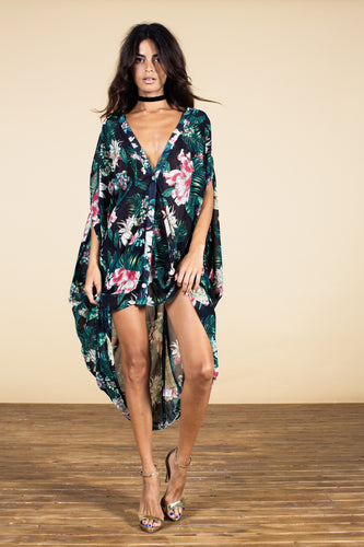 CRUZ PONCHO IN MIDNIGHT FLORAL