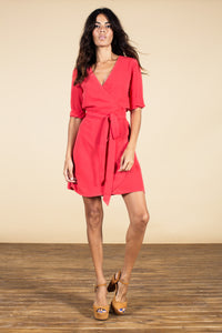 ZEINA MINI WRAP DRESS IN CORAL RED