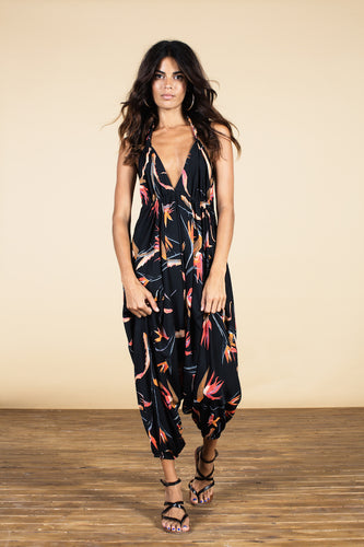 GENIE JUMPSUIT IN PARADISE BIRDS PRINT