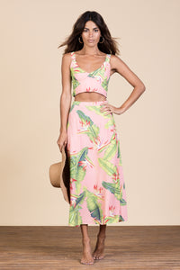 ARIEL SKIRT IN PINK BANANA LEAF