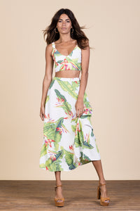 ARIEL SKIRT IN WHITE BANANA LEAF