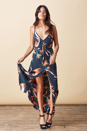 SPLIT LEG MAXI DRESS IN PARADISE BIRDS
