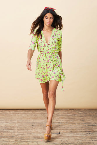 ZEINA MINI WRAP DRESS IN LIME DITZY