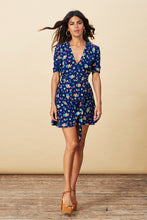 ZEINA MINI WRAP DRESS IN NAVY DITZY