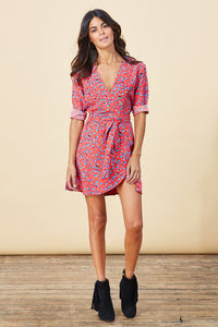ZEINA MINI WRAP DRESS IN RED DITZY