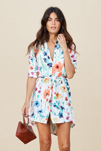MINI SHIRT DRESS IN WHITE MEADOW