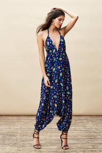 GENIE JUMPSUIT IN NAVY DITSY