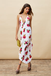 BOHO MAXI DRESS IN WHITE ROSE