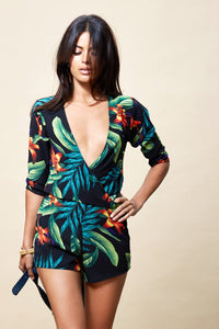 TIAGO PLAYSUIT IN BLACK TROPICAL