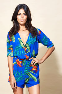 TIAGO PLAYSUIT IN BLUE TROPICAL