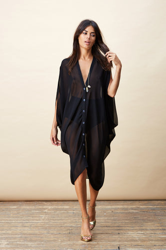 CRUZ PONCHO IN BLACK