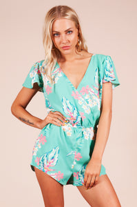 RIO PLAYSUIT IN GREEN TROPICAL