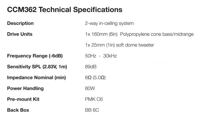 b&w ceiling speakers specificatiion