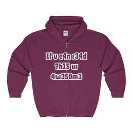 if you can read this you're awesome men's unisex zip hoodie Nerdedness