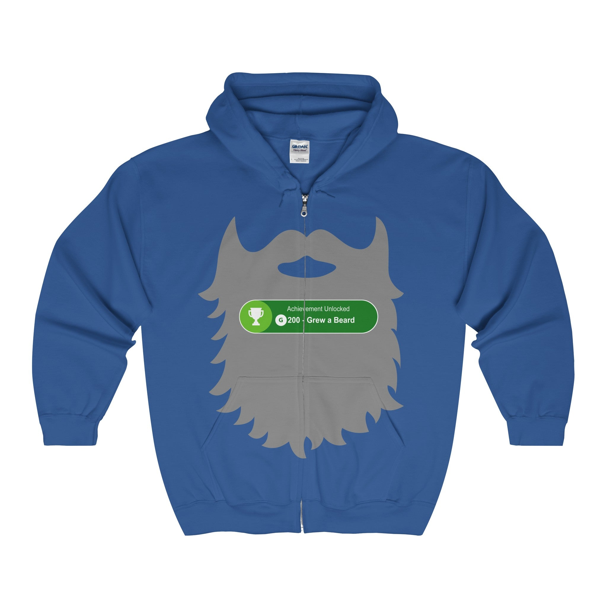achievement unlocked xbox gaming grew beard men's unisex zip hoodie
