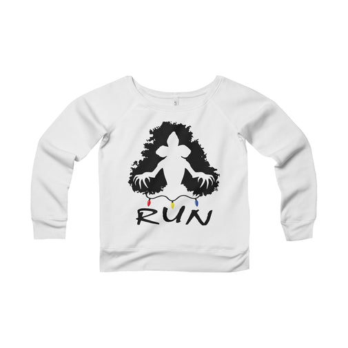 demogorgon run stranger things women's wide-neck sweatshirt Nerdedness