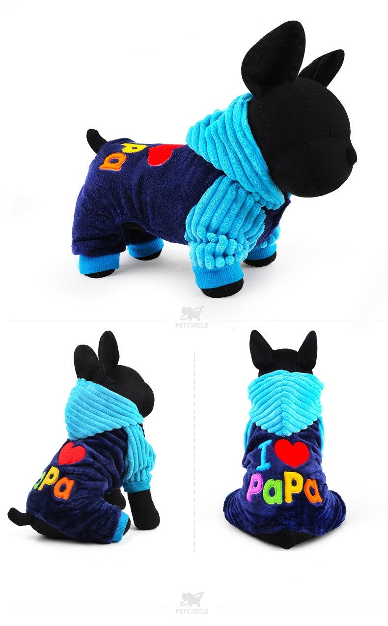 I Love Papa Pet Onesie - جمبسوت أزرق