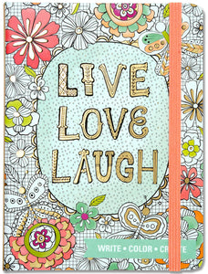Live, Love, Laugh Coloring Journal - Medium دفتر عِش حِب اضحك وسط