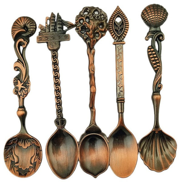 FHEAL 5pcs/set Royal Coffee Spoons