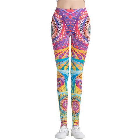 Fitness workout leggings - Colorful fantasy - High waist