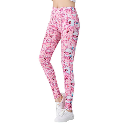 Fitness leggings - Pink toons - High waist