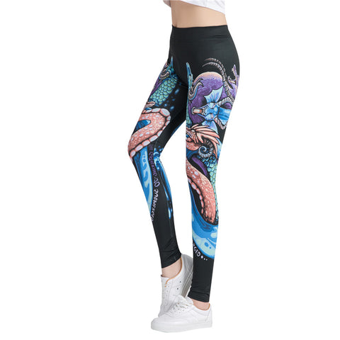 Fitness workout leggings - Colorful dragon- High waist
