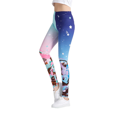Fitness workout leggings - Colorful sweet - high waist