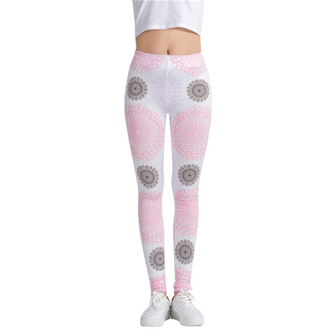 Fitness casual workout leggings - Colorful pink - High waist