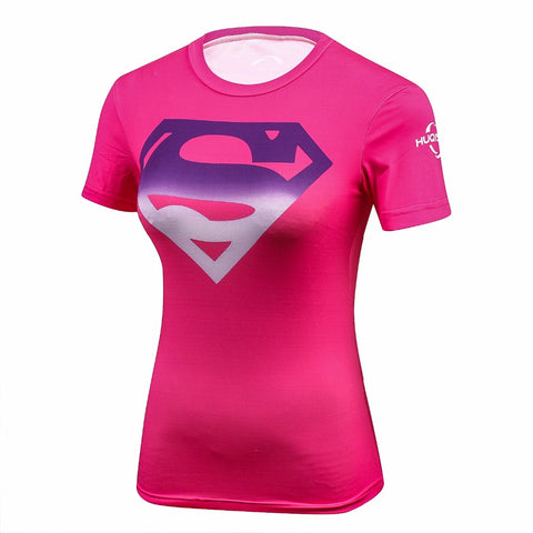Fitness compression T-shirt - Supergirl Pink