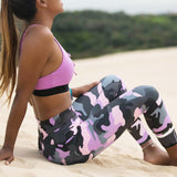 Fitness leggings - Camo pink - High waist
