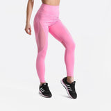 Fitness workout leggings - Pink mesh - Squat proof - High waist - XS/XL