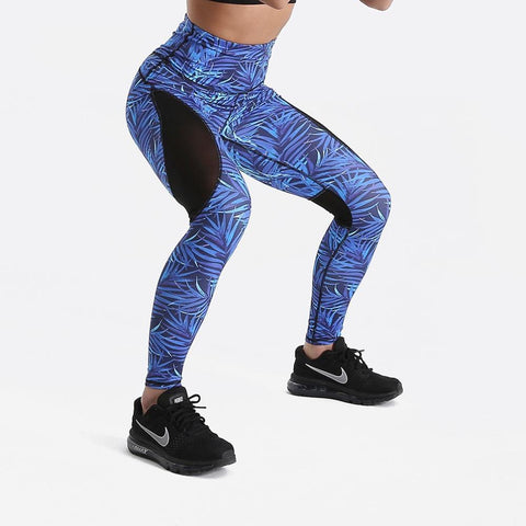 Fitness workout leggings - Blue jungle - Squat proof - High waist - XS/XL
