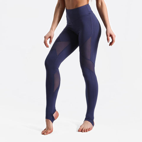Fitness workout leggings - Blue star mesh - Squat proof - High waist - XS/XL