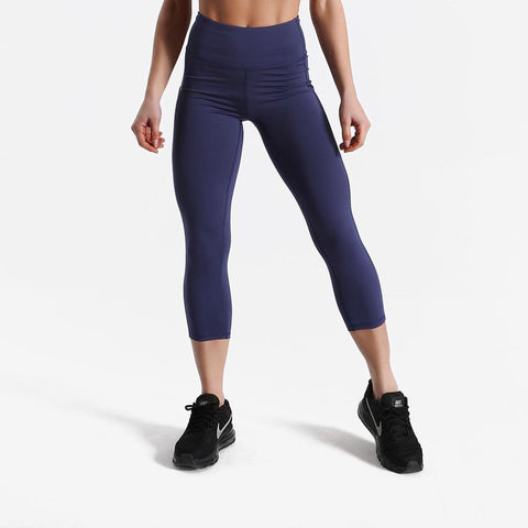 Fitness workout capri pants with pockets - Breeze blue - Squat proof - High waist - XS/XL