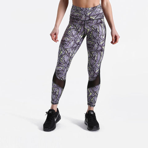 Fitness workout leggings - Abstract mesh - Squat proof - High waist - XS/XL