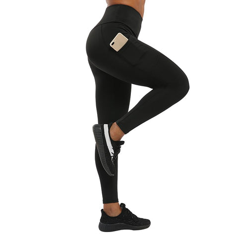 "Fitness workout leggings - ""V"" shape black - Squat proof - XS/XXXL"