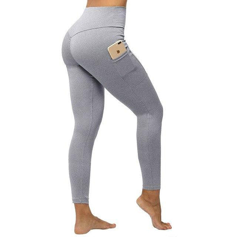 "Fitness workout leggings - ""V"" shape light gray - Squat proof - XS/XXXL"