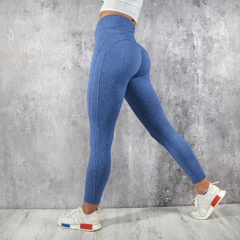 2ce744e8a33795 Fitness workout leggings - My rules blue - High waisted - Scrunch back
