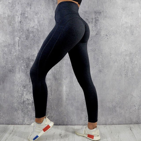 Fitness workout leggings - My rules black - High waisted - Scrunch back
